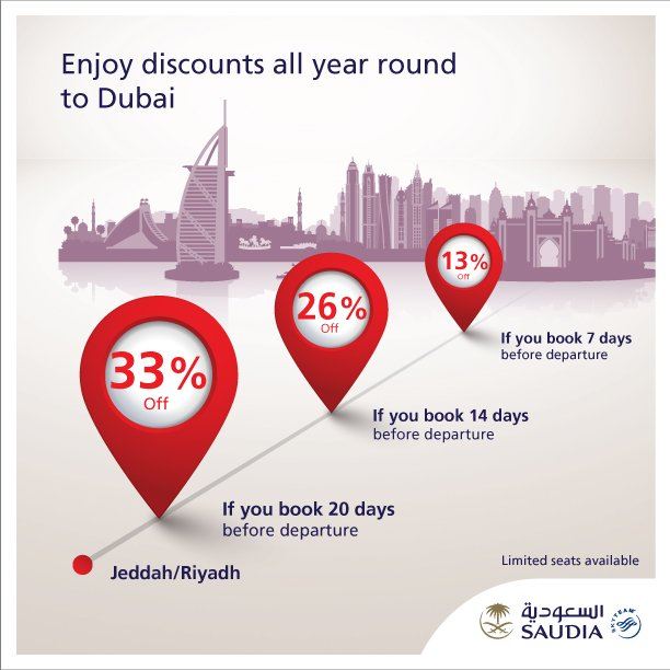 Enjoy discounts all year round to Dubai  Book