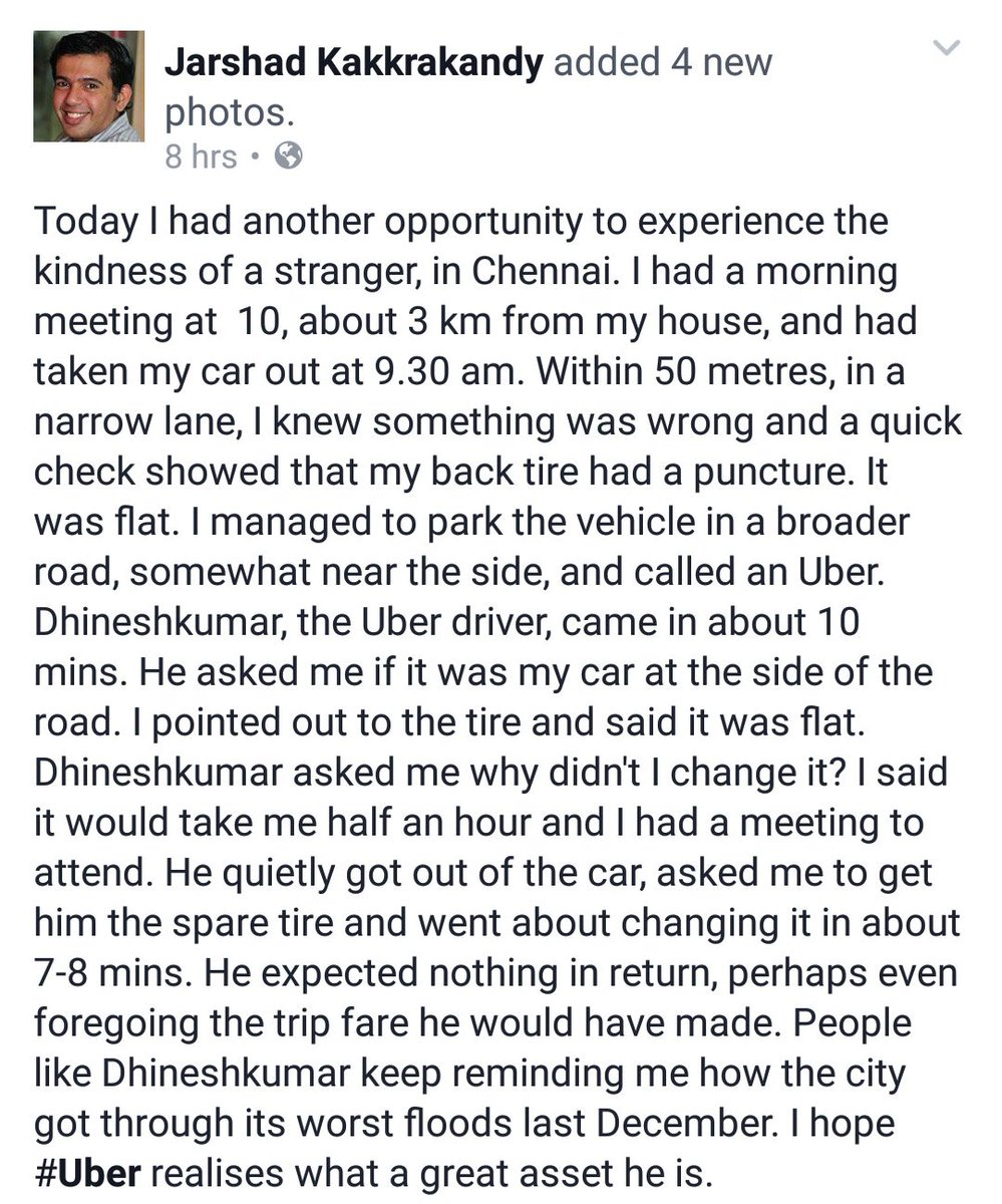 Hats off to this #Uber driver - Dhineshkumar.