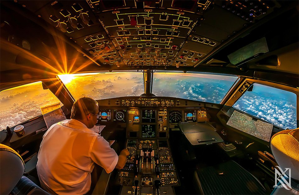 Sunrise In Airplane Cockpit | Photography by ©Karim Nafatni https://t.co/uUtdiFjiw2