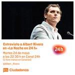En unos minutos @Albert_Rivera en @Lanoche_24h. ¡Síguelo en directo! #LNrivera https://t.co/d0EpPvYS9x https://t.co/R5vOp5AZnG