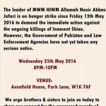 TOMORROW PROTEST IN LONDON TO  SUPPORT @AllamaRajaNasir CALL OF #HungerStrike #Day12 https://t.co/btERVgf5BX