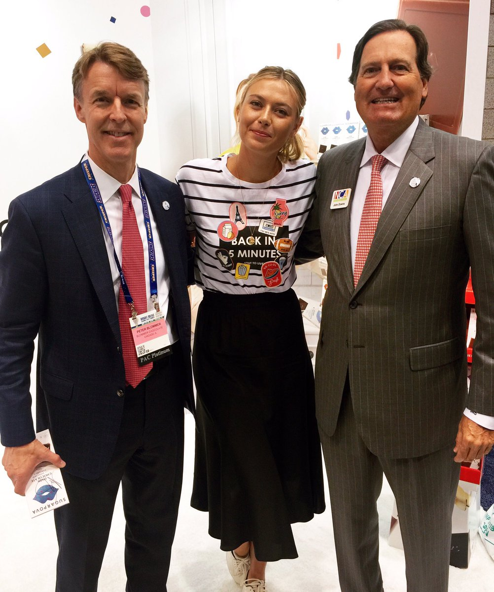 NCA Pres/CEO John Downs & Chairman Peter Blommer of #BlommerChocolate w @MariaSharapova @Sugarpova #SSE16 https://t.co/GrOAdage9p