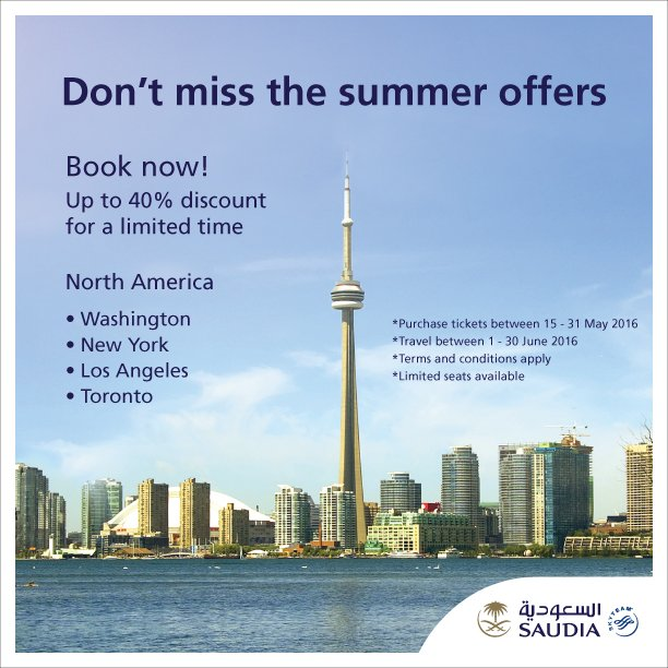 Don't miss the summer offers to North_America  Book now and enjoy up to 40% discount