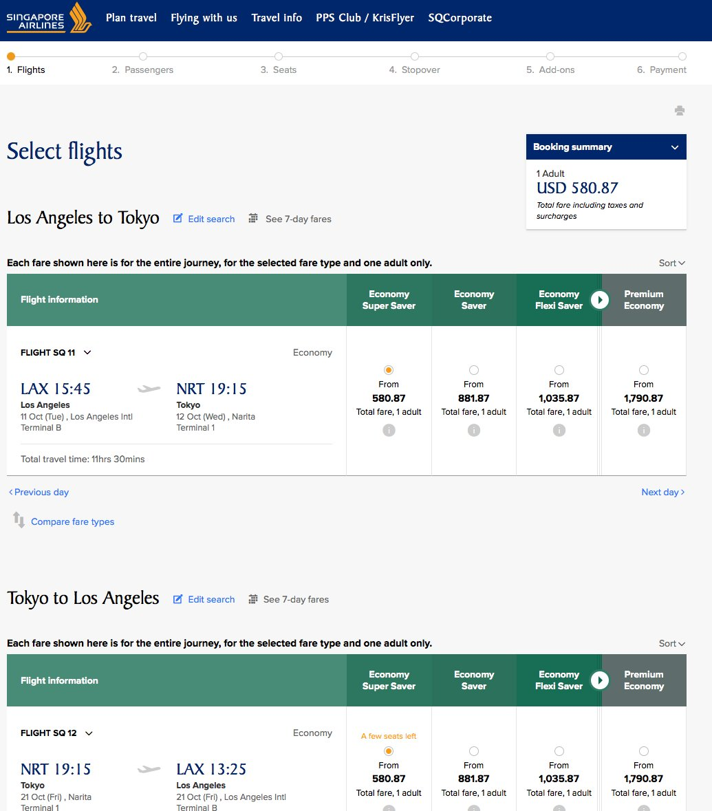 RT @airfarewatchdog: Los Angeles LAX to Tokyo NRT $581 @SingaporeAir for summer/fall.