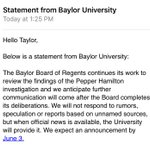 Just got this statement from #Baylor regarding the reports circulating. https://t.co/FBUQHIwsuo