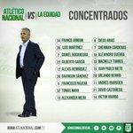 El verde concentró a estos 18 jugadores para el partido de mañana ante La Equidad. #VamosNacional https://t.co/U4fsCYHyQk