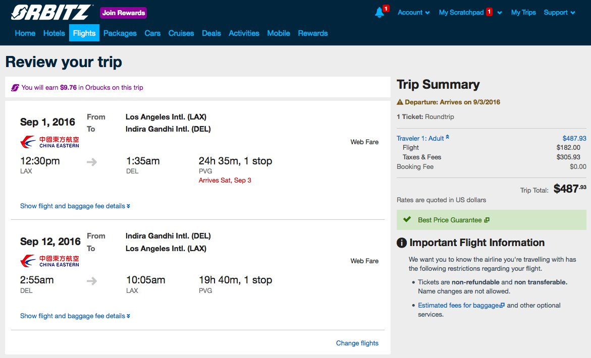 RT @airfarewatchdog: Los Angeles LAX to New Delhi DEL $488RT for late summer.
