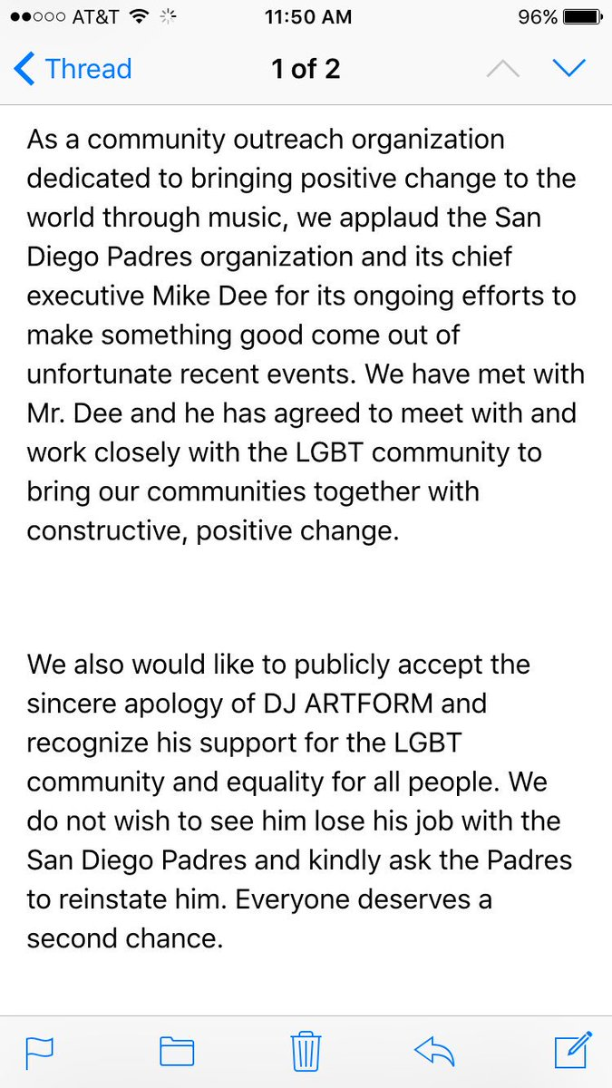The San Diego Gay Men's Chorus has asked the @Padres to reinstate @DJArtForm https://t.co/2XIggXsa42