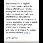 Statement from #Baylor- university not responding. Announcement expected next Friday. @KCENNews https://t.co/0ScmnD4goh