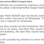 The Bucks officially put out a request for a D-League team within 2 hours of Milwaukee, Oshkosh the early favorite. https://t.co/UrPLYqHGxK