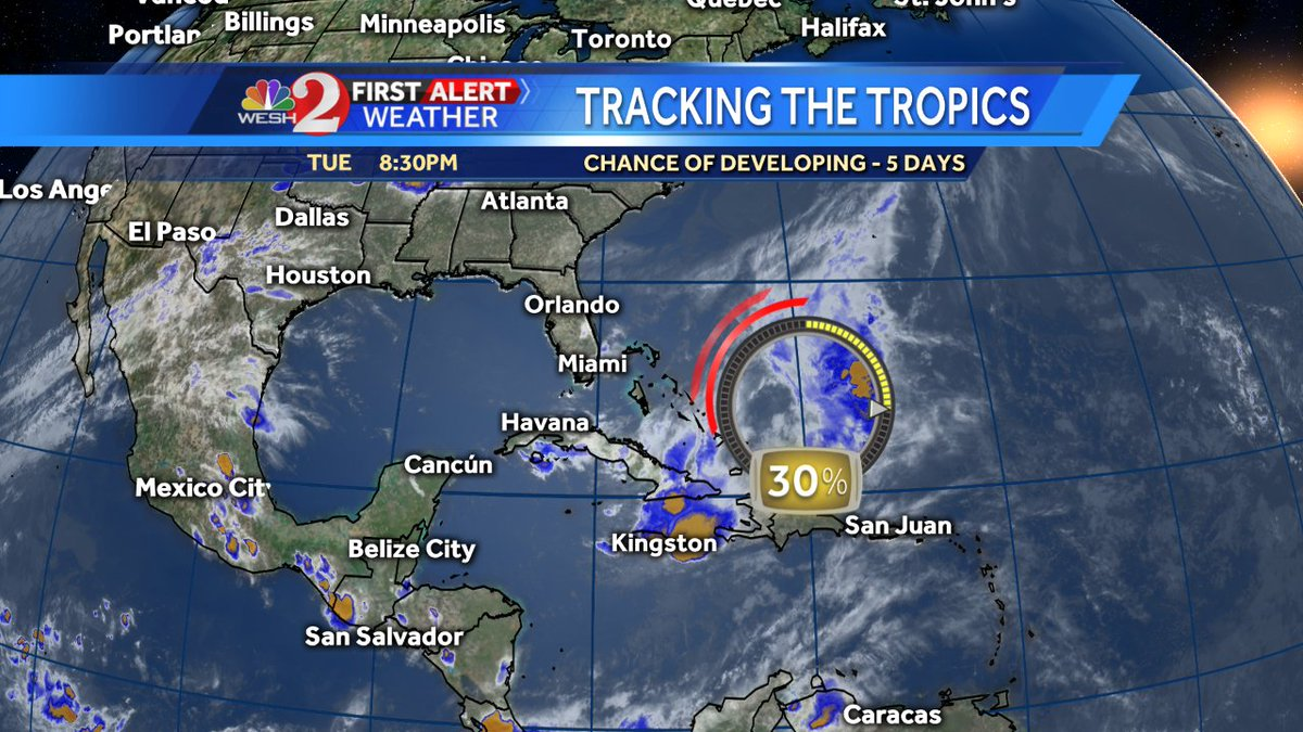 We continue to watch an area of showers/storms in the Bahamas. This could slowly develop over the next several days. https://t.co/7JQqeCxHiB