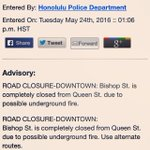 #hitraffic as of 1:06pm 5/24/16 temporary road closure Bishop St to Queen Street in Downtown Honolulu #nixle https://t.co/JAX3S1NwHj