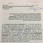 Aquí la denuncia presentada hoy por la Madre de Christian Manrique ante el Ministerio Público por su desaparición https://t.co/ZV9qt0sKl0