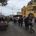 Farmers begin marching down Swanston St to @VicParliament @SkyNewsAust https://t.co/on3O3D4b5i