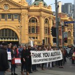 Dairy farmers protesting recent milk price cuts in Melbourne today #agchatoz #milkeddry #auspol @theweeklytimes https://t.co/PswFhcvxiQ