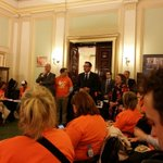 @DanielAndrewsMP welcoming @VicUnions delegation to the #workersparliament including us at @withMEAA #springst https://t.co/k7c6IhK62E