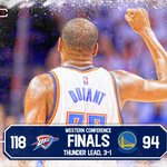 The Thunder are rolling! OKC takes the 3-1 series lead in 118-94 rout of Warriors. https://t.co/DjMRx5zoP8