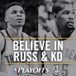 Russ and KD each scored at least 25 Pts in the same playoff game for the 3rd time this series. https://t.co/6dNoMTR3BT