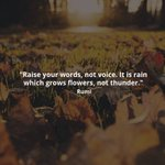 """Raise your words, not voice. It is rain which grows flowers, not thunder."" - Rumi #wisdom #rumi @ideas https://t.co/bS68cTcSsi"