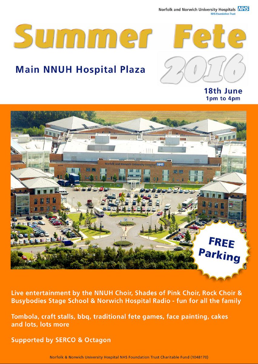 Our hospital fete is on 18 June 2016 - NR4 7UY -  from 1-4pm. Lots to do & free parking. Why not come along? https://t.co/BwIAPxKbpW