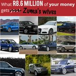 What R8,6 million of YOUR money gets Zumas wives Range Rover x 4 Audi A6 x 3 Land Rover Discovery x 2 Audi Q7 x 2 https://t.co/0iV20erLLa