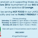 Join us in supporting Wales in the #EURO2016 next month on our big screen #TogetherStronger #Familyfriendly https://t.co/HdKWwafFTs