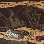 ART in #yeahTHATgreenville ARTIST: Kent Ambler. Title: Untitled (dog with bandage). Woodcut. See @lineandcolorart https://t.co/HKPBeM5vmx