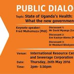 @KigoThinkers to hold public dialogue on the state of Ugandas health at NWSC Resource Center today (2PM-5.30PM) https://t.co/m77FujSbuY