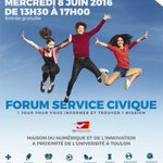 [Agenda] Forum du Service Civique à Toulon le mercredi 8 juin. #Var #ServiceCivique https://t.co/lmoxKqJdCH