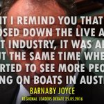 #BREAKING Barnaby just linked live cattle exports with asylum seeker boats. He is as racist as he is stupid! #AusPol https://t.co/JfdakusNYL