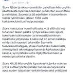 #Akava ja @SFjder #hallituslle: 1000$:n paikka tukea t&k&i:n lisäämistä ja #insinööriosaaminen käyttöön #Microsoft https://t.co/0xPJ0LLI7t