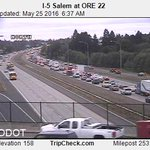 Seeing a longer backup behind earlier wreck on I-5 NB is Salem, near Hwy 22 #liveonk2 #pdxtraffic https://t.co/aAt1fGeqqS