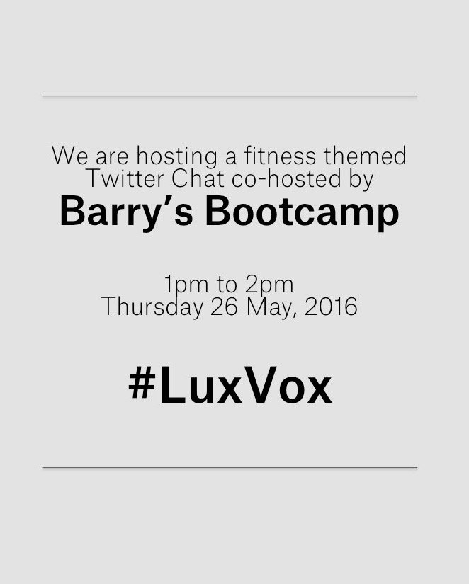 The #LuxVox countdown has officially begun! @barryslondon are you ready? Who's joining? #Fitness https://t.co/m6W3gdlNRL