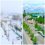 Joku valitteli liian kuumia kelejä. Otetaampa hiukan perspektiiviä. Toimistonäkymä nyt ja alkuvuodelta. #Helsinki https://t.co/k6PJ8j56M9