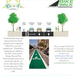 Protected bike lanes are coming to Greenville. Check out the demo this weekend on Broad St @BikeWalkGville https://t.co/oI11rrvCbw
