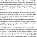Ohio GOP cut early voting to target black voters. Court found restrictions violated VRA https://t.co/NANRWTnTLL https://t.co/6RrrpwWUge