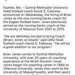 Former #Mizzou running backs coach Brian Jones staying in Mid-Missouri, joint Central Methodist staff, per school. https://t.co/Pe99Vjoveg