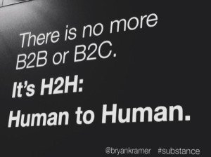 Great point on tweetchat today (via @bryankramer) There is no B2B or B2C: It's Human to Human #H2H #powerofprecision https://t.co/w8zmEarltd