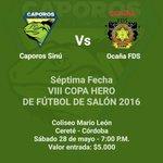 Los esperamos el sábado en Cereté, partido de vuelta contra @FdsOcana! #JuegaCaporos #ArribaCaporos https://t.co/lBpNuZKFJf