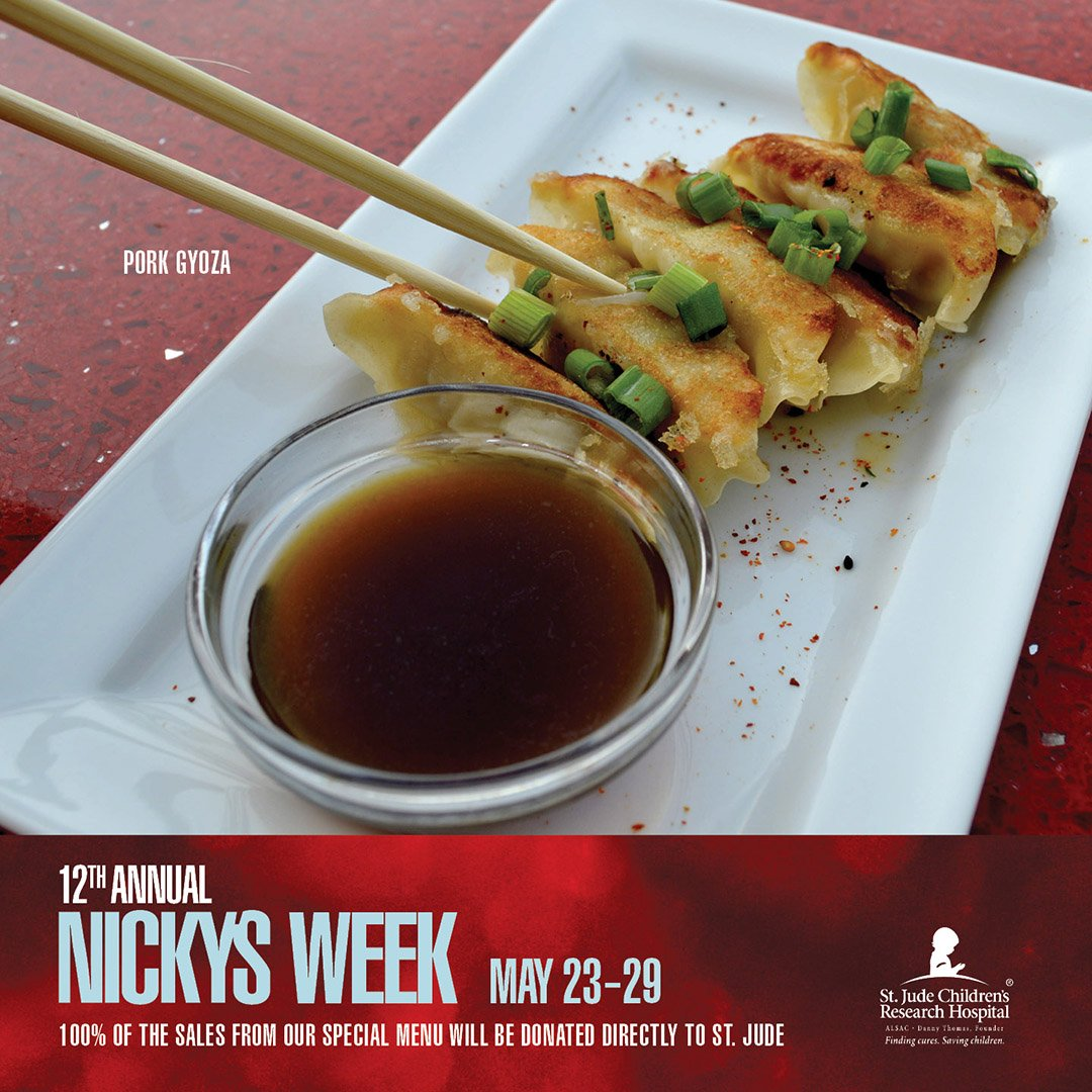 Order from our #NickysWeek menu this week and 100% of the sales will be donated to @StJude. https://t.co/3pLLzhM7x8