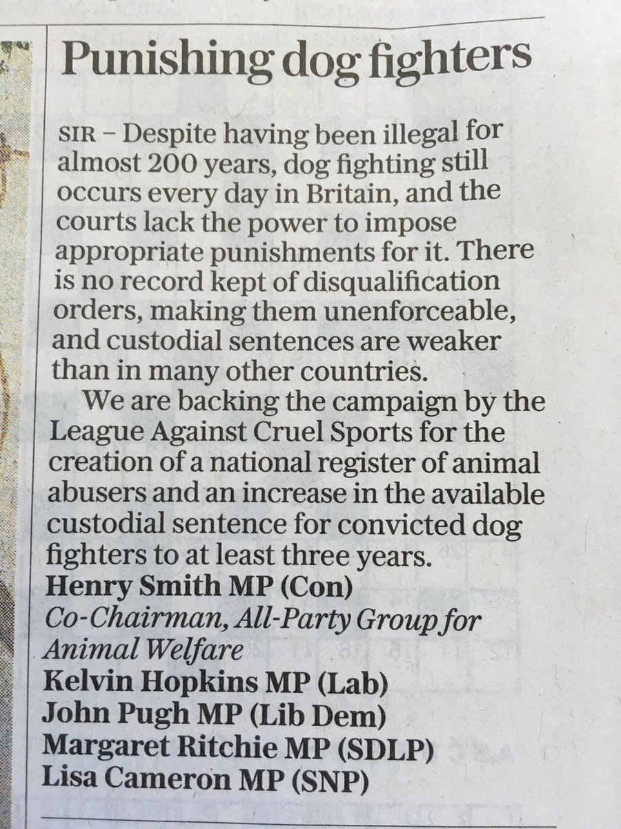 Fighting for those with no voice @LeagueNI @MargaretRitchie letter in @Telegraph https://t.co/yGj1rlkJZv