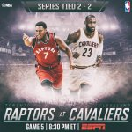 Will the @cavs.. or will the @Raptors take a 3-2 #CAVSvRAPTORS lead with a win tonight? Find out 8:30pm/et @ESPNNBA https://t.co/gPu0hRAjmd