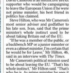 If he wasnt PM, Dave would be campaigning to Leave, claims his best friend in politics, Steve Hilton. #LeaveEU https://t.co/ClZTAF4XrM