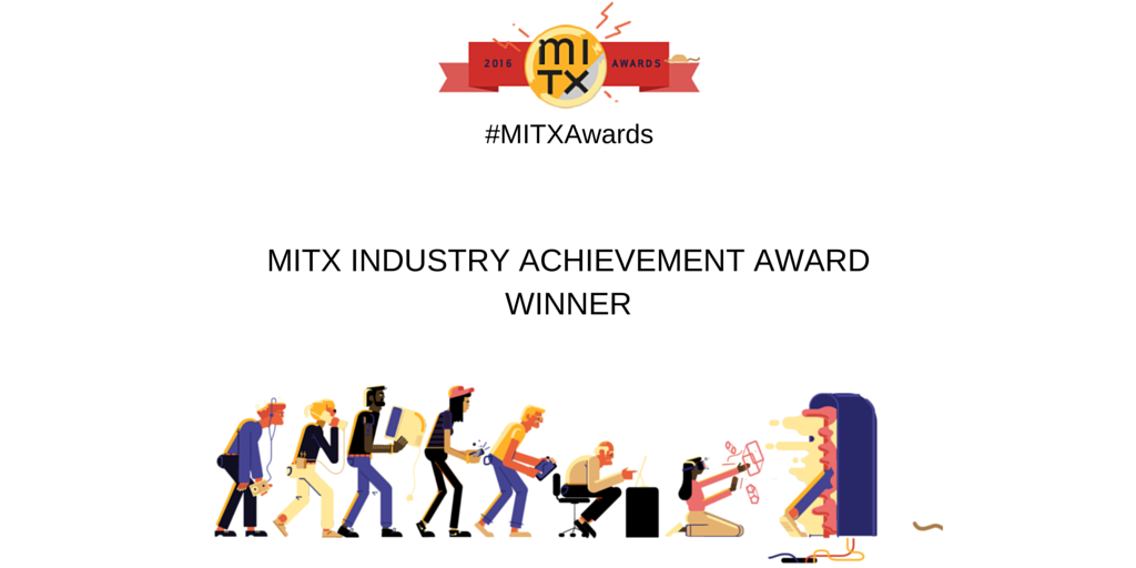 Congratulations Larry Weber and Michael Barron! 2016 #MITXAwards MITX Industry Achievement Award Winner #mitxawards https://t.co/FRzeGg9Ovw