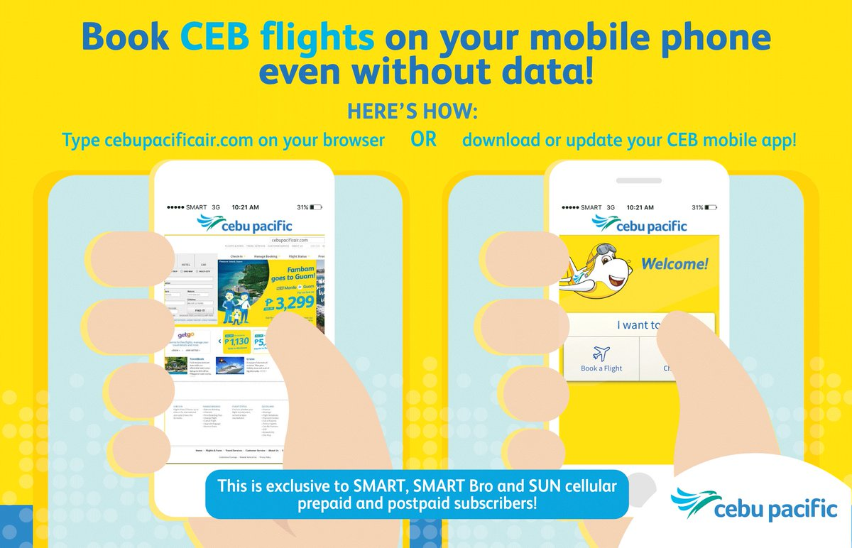SMART, SMART Bro, & SUN subscribers can now book CEB flights on their phones even w/o data!
