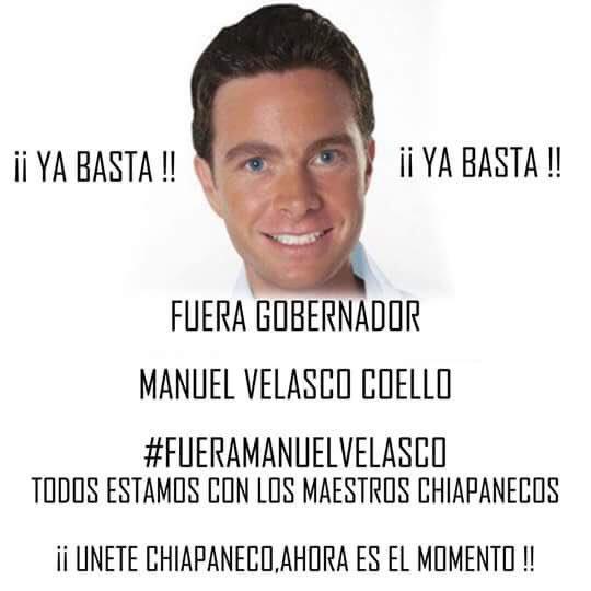 "Crece la demanda de que renuncie el frívolo e ineficaz dizque gobernador de #Chiapas , el ""guero"" #ManuelVelasco https://t.co/yheksWjGz3"