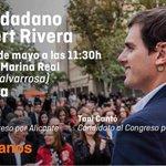 Este domingo #Valencia se viste de naranja. #ActoCiudadano de @Albert_Rivera, @martamartirio y @Tonicanto1. https://t.co/9c7pvVYRKD