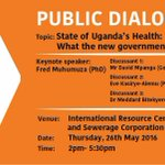 What : Public Dialogue Where :@nwscug Resource Center When : 26/05/16 Time : 2pm-5:30pm #UGHealth https://t.co/tMPA0WVn0K