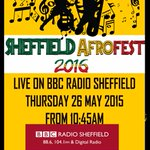 We are live on #BBCRadioSheffield this morning from 10:45 #26thMay . #Sheffield Afrofest16 @HelpSheffield https://t.co/La80SMR9au