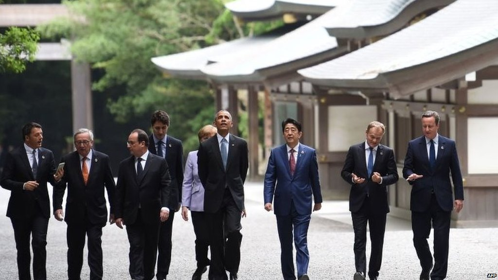 G7 leaders visit Shinto religion's holiest site as summit begins in